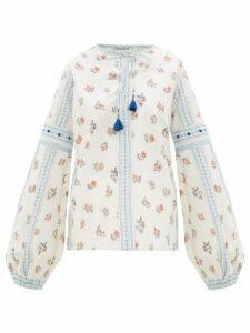 D'Ascoli - Montauk Floral-print Cotton Top - Womens - Blue Multi