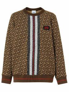 Burberry Monogram Stripe Print Cotton Oversized Sweatshirt - Brown