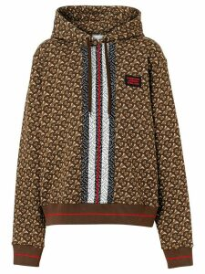 Burberry Monogram Stripe Print Cotton Oversized Hoodie - Brown