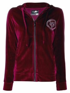Plein Sport rhinestone patch zipped hoodie - Red