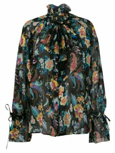 Etro floral print tie cuff shirt - Black