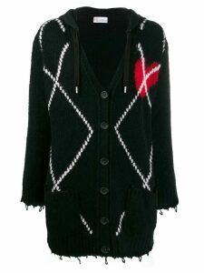 RedValentino knitted heart cardigan - Black
