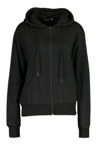 Womens Basic Soft Mix & Match Zip Through Hoodie - black - 16, Black