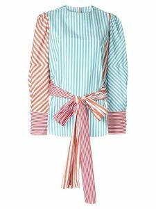 Silvia Tcherassi belted striped blouse - Green