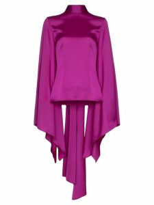 Solace London Ali draped wide-sleeve blouse - PURPLE