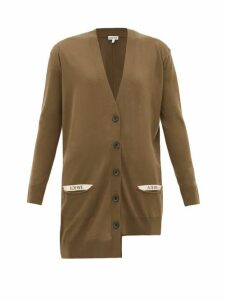 Loewe - Asymmetric Pocket-logo Wool Cardigan - Womens - Khaki