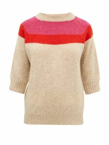 La Fetiche - Sidney Intarsia-striped Wool Sweater - Womens - Beige Multi