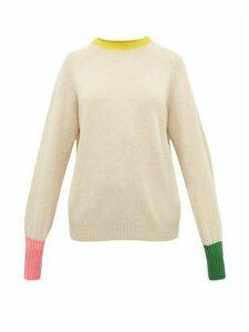 La Fetiche - Bryan Contrast-cuff Wool Sweater - Womens - Beige Multi