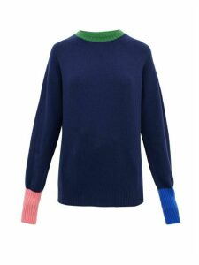 La Fetiche - Bryan Colour-block Wool Sweater - Womens - Navy Multi