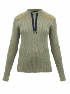 La Fetiche - Agnes Patch-appliquéd Ribbed-wool Sweater - Womens - Khaki