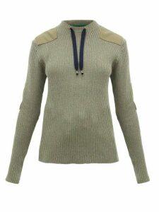 La Fetiche - Agnes Patch-appliquéd Ribbed-wool Sweater - Womens - Khaki