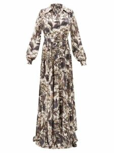 Edward Crutchley - Parrot-print Belted Silk-satin Maxi Dress - Womens - Black Multi