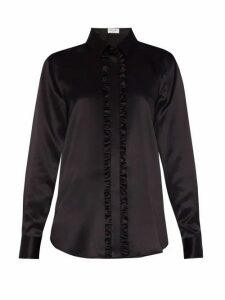 Saint Laurent - Ruffled Silk-charmeuse Blouse - Womens - Black