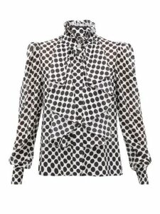 Alexandre Vauthier - Polka-dot High-neck Silk Blouse - Womens - White Black