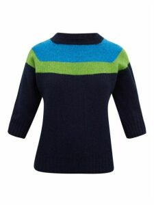 La Fetiche - Sidney Colour-block Wool Sweater - Womens - Navy Multi