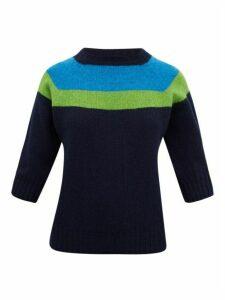 La Fetiche - Sidney Colour-block Wool Sweater - Womens - Navy Multi