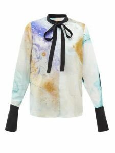 Roksanda - Carone Watercolour-print Silk Neck-tie Blouse - Womens - Gold