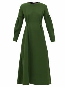 Emilia Wickstead - Cerise Balloon-sleeve Pebbled-crepe Dress - Womens - Dark Green
