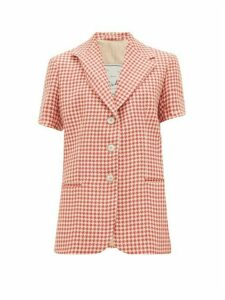 Giuliva Heritage Collection - Houndstooth Linen Short-sleeved Jacket - Womens - Red White