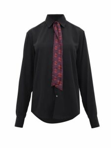 Edward Crutchley - Printed Tie-neck Silk Shirt - Womens - Black