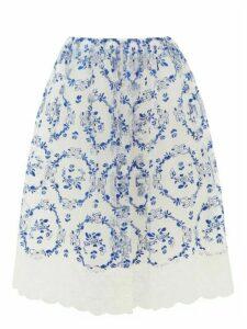 Simone Rocha - Floral-embroidered Tulle Midi Skirt - Womens - Blue White