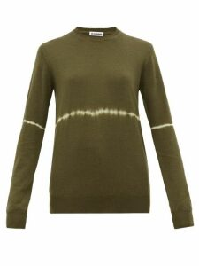 Jil Sander - Tie-dye Stripe Wool-blend Sweater - Womens - Dark Green