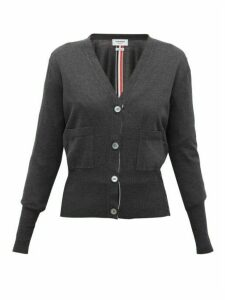Thom Browne - V-neck Silk-blend Cardigan - Womens - Dark Grey