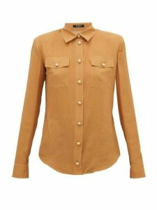 Balmain - Padded-shoulder Silk Crepe De Chine Shirt - Womens - Beige