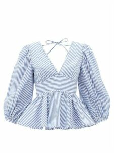 Staud - Peplum-hem Striped Cotton-poplin Blouse - Womens - Blue White