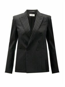 Saint Laurent - Double-breasted Lamé-striped Wool-blend Jacket - Womens - Black Silver