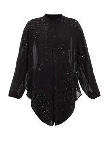 Saint Laurent - Crystal-embellished Tie-front Georgette Blouse - Womens - Black