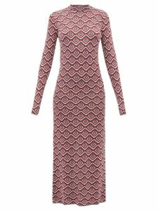 Paco Rabanne - Metallic Geometric Jacquard-knit Midi Dress - Womens - Red Multi