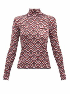 Paco Rabanne - Geometric-jacquard Metallic-jersey Top - Womens - Red Multi
