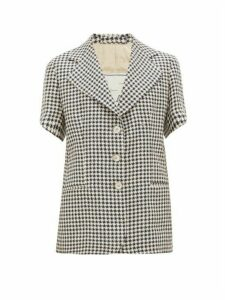 Giuliva Heritage Collection - Houndstooth Linen Short-sleeved Jacket - Womens - Blue White