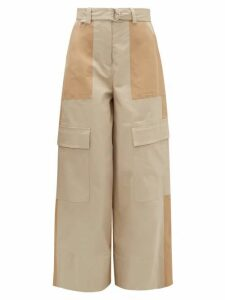 MSGM - Panelled Stretch-cotton Wide-leg Trousers - Womens - Light Beige