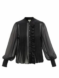 Temperley London - Penny Ruffled Silk-chiffon Blouse - Womens - Black