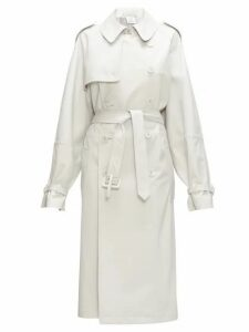 Vetements - Double-breasted Leather Trench Coat - Womens - Light Grey