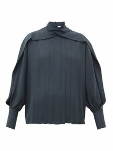 The Row - Gilia Pleated Silk-georgette Blouse - Womens - Dark Grey