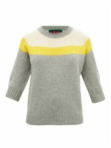 La Fetiche - Sidney Panelled Wool Sweater - Womens - Grey Multi