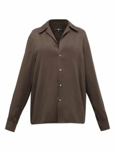 Edward Crutchley - Camp-collar Satin Shirt - Womens - Brown