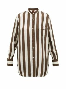 F.r.s - For Restless Sleepers - Febo Striped Silk-twill Shirt - Womens - Brown Multi