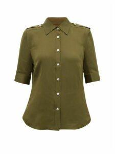 Frame - Epaulette Silk-crepe Shirt - Womens - Khaki
