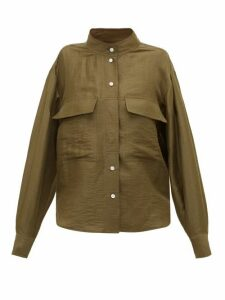 Frame - Stand-collar Linen-blend Shirt - Womens - Khaki