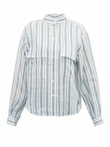 Frame - Stand-collar Striped Linen-blend Shirt - Womens - White Multi