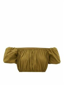 Staud - Ant Off-the-shoulder Cropped Top - Womens - Khaki