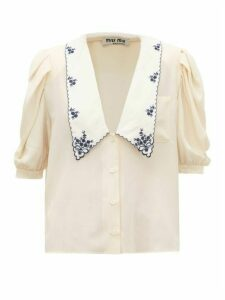 Miu Miu - Exaggerated-collar Silk Blouse - Womens - Beige Multi