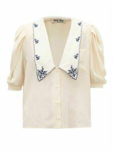 Miu Miu - Exaggerated-collar Silk Blouse - Womens - Beige Multi