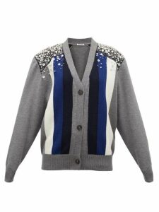 Miu Miu - Crystal-embellished Striped Wool Cardigan - Womens - Grey Multi
