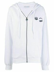 Chiara Ferragni winking eye appliqué hoodie - White