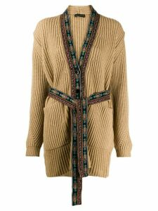 Etro embroidered trim cardigan - NEUTRALS